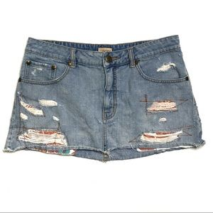 Free People Distressed & Patched Denim Mini Skirt